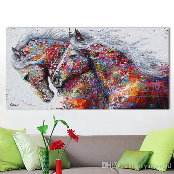 NEW Animal Canvas Handpainted Art Oil Painting Pop Art Running horse Home Decoration On Canvas Multi Sizes A077