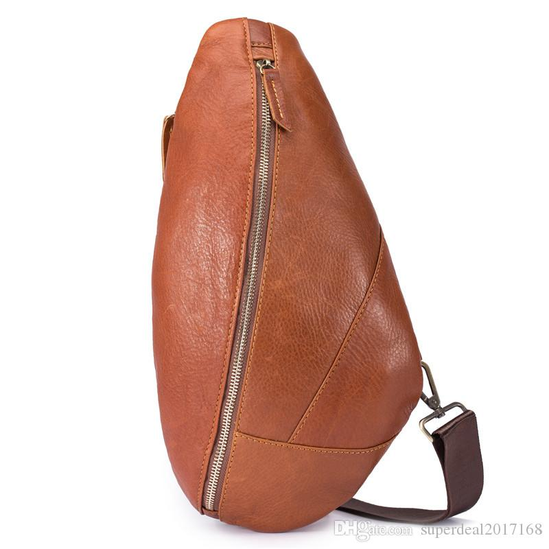 new fashion Genuine Leather handmade fashion men sling bag cross body messenger bags 2 colors outdoor women waist bag pack