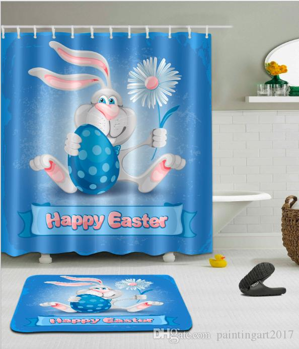 Bathroom Shower Curtains Lovely Cartoon Rabbit Large Size Eco-friendly Waterproof Fabric Shower Curtain Floor Mat Sets