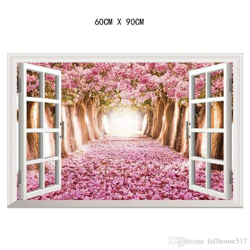 Large Cherry Blossom 3D Window Wall Stickers Vinyl Decals Home Decor Mural Arts