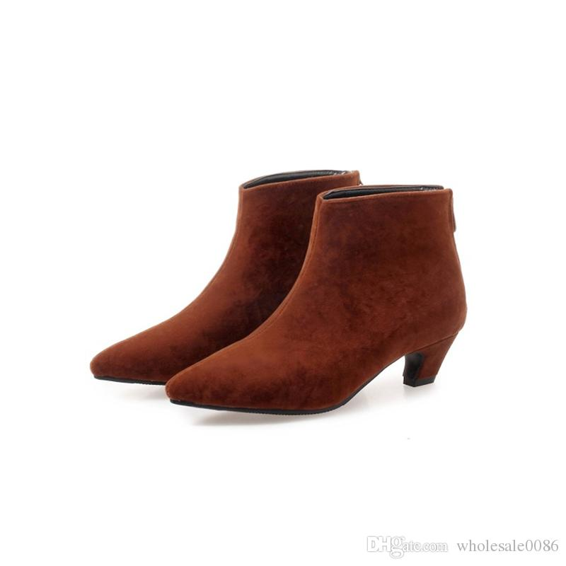 Fashion Hot Sale Womens Ladies Pointed Toes Kitten Heel Zip Casual Ankle Boots Shoes B1030 US UK Shoes Size