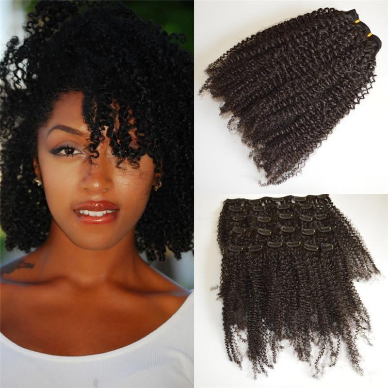 Burmese Kinky Curly Clipe em Extensões de Cabelo Humano para African American 7 PCs / Set 120g G-Fácil