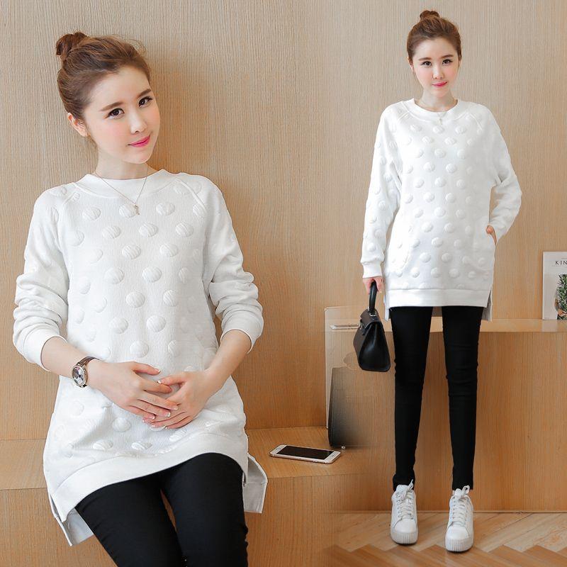 Autunno moda coreano bianco 3D Dot cotone imbottito maternità camicie vestiti per le donne in gravidanza Top gravidanza
