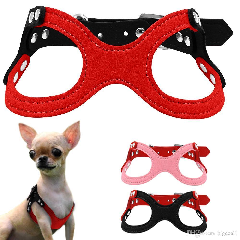 Arnés para perros pequeños de cuero de ante suave para cachorros Chihuahua Yorkie Rojo Rosa Negro Ajustable Cofre 10-13