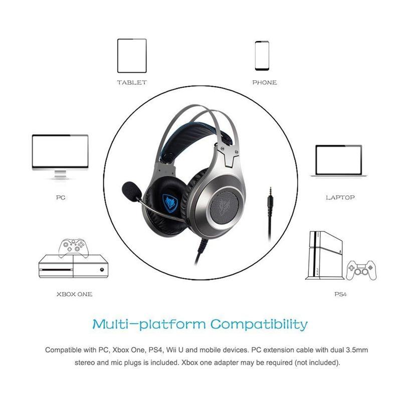 스테레오 게임용 헤드셋 PS4 용 Xbox One 스위치 마이크 및 음소거 기능이있는 중저음 헤드폰 휴대 전화 용 귀걸이 형 볼륨 휠 PC 게임