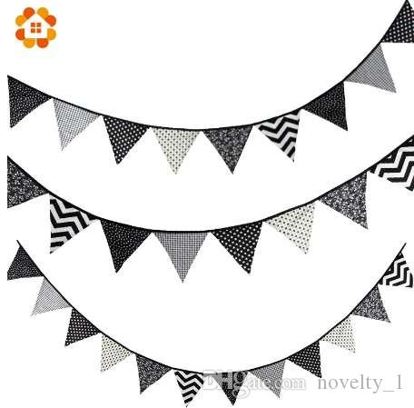 12 Flags Banner Pennant Cotton Cloth For Baby Shower Wedding Party Decoration Pennants Bunting Banner 4 Color Wave Star Supplies