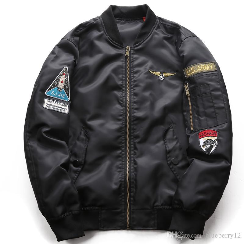 Neue Herren Designer Bomber Jacke 3 Farben Straßenstil MA1 Jacke für männliche Freizeitständer Kragenjacke Windjacke Plus Größe M-6XL