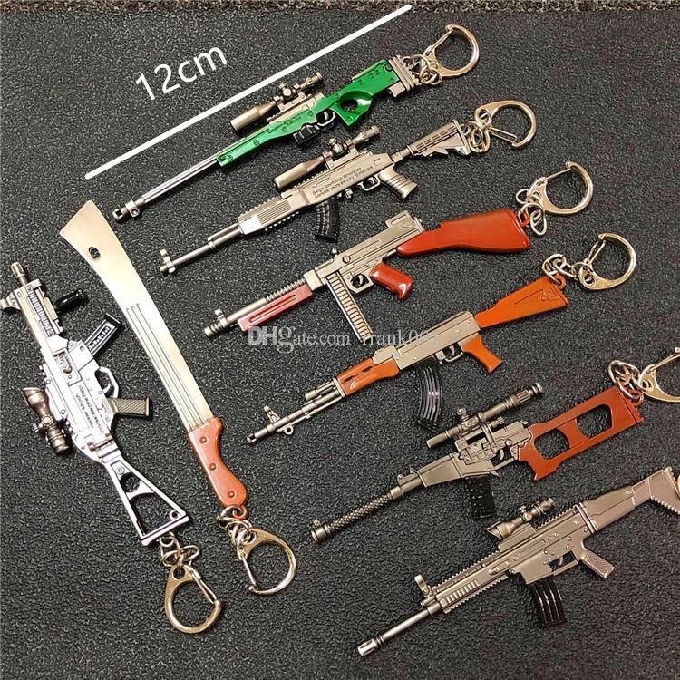 12 سنتيمتر pubg 7.62 ملليمتر سلاح بندقية akm نموذج سلاسل المفاتيح ak 47 اللعب بندقية الحلي llaveros chaveiro sleutelhanger مفتاح حلقة كيرينغ