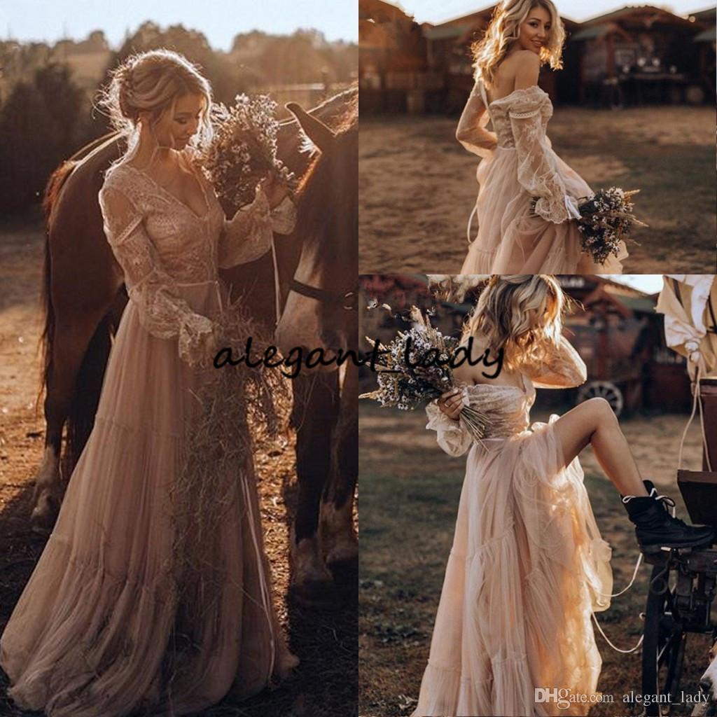 Whimsical Boho Vestidos de novia 2019 Encaje manga larga gitano País llamativo Vestidos de novia occidentales Estilo hippie