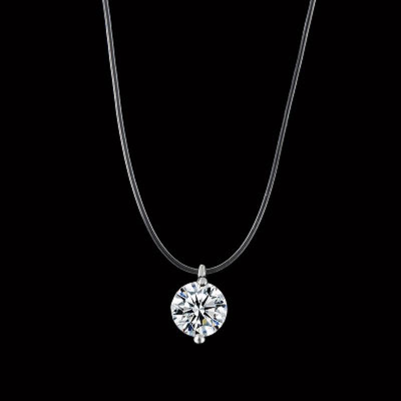 Pendant Choker di cristallo trasparente Lenza Collana Chocker donne catena invisibile 8 mm linea del collo regalo di Natale