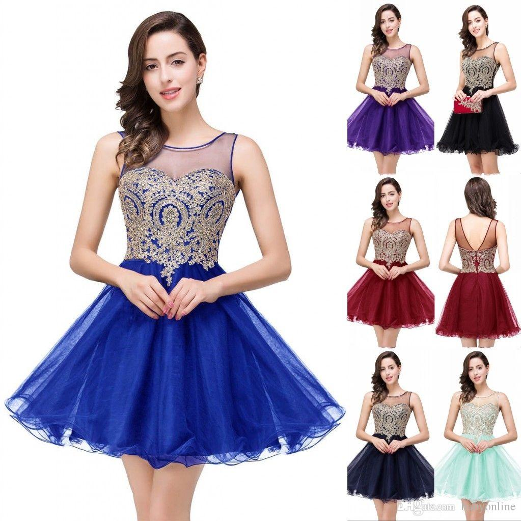 2019 Sheer Neck Little Black Short Knee Length Homecoming Dresses Real Image Gold Appliques Ruffles Mini Prom Cocktail Dresses CPS362