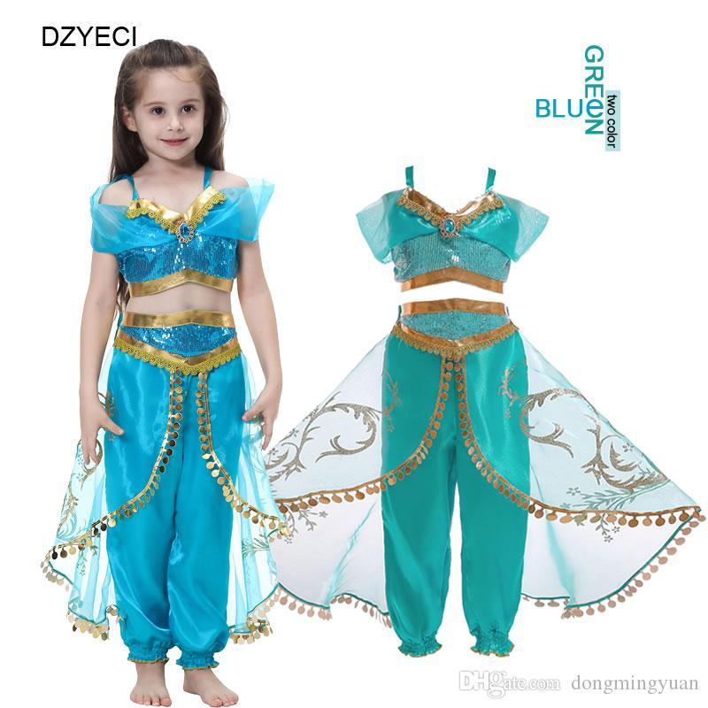 Compre Traje De Jazmín De Aladdin Para El Vestido De Fiesta Big Girl Set Halloween Christmas Kid Up Vest Top Lace Pant Outfit Niños Cosplay Chándal