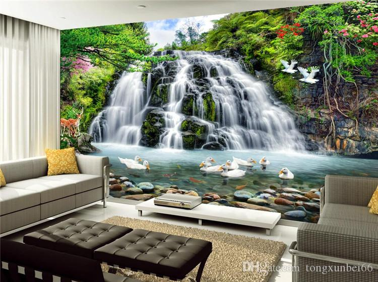 Custom 3D Mural Wallpaper For Wall Beautiful Nature Landscape Photo Waterfall Ducks Wall For Room Decor TV Sofa Backdrop