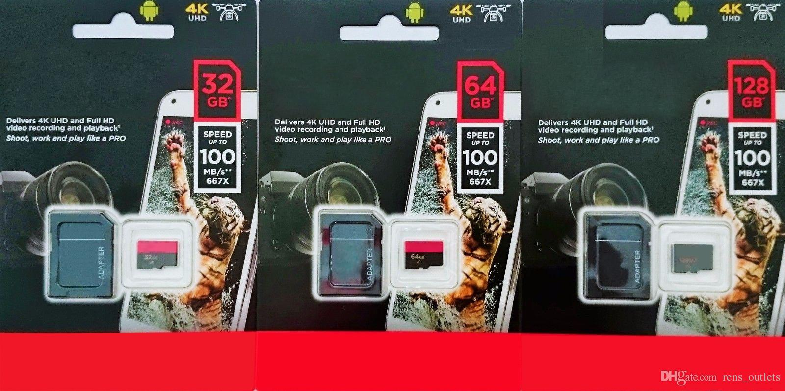 2020 Hot Selling Weiß Android 128G 64GB 32GB Class 10 Speicher TF-Flash-Karte freien SD-Adapter mit Blister Verpackung