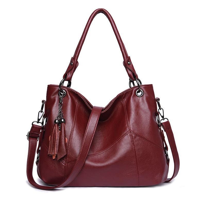 패션 여성 핸드백 빈티지 가죽 가방 대용량 술 숄더 가방 숙녀 큰 어깨 가방 어머니 선물