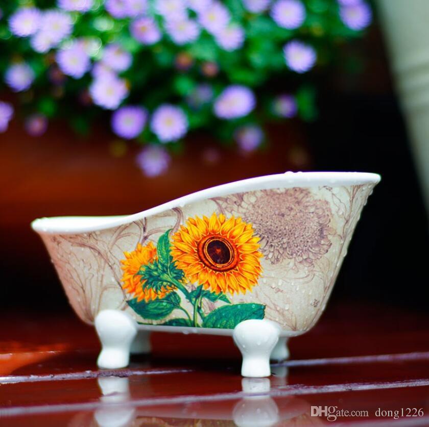 Céramique tournesol cendrier décor à la maison artisanat chambre décoration Boîte de rangement figurine en porcelaine Boîte d'épicerie Changer peut Candy plat