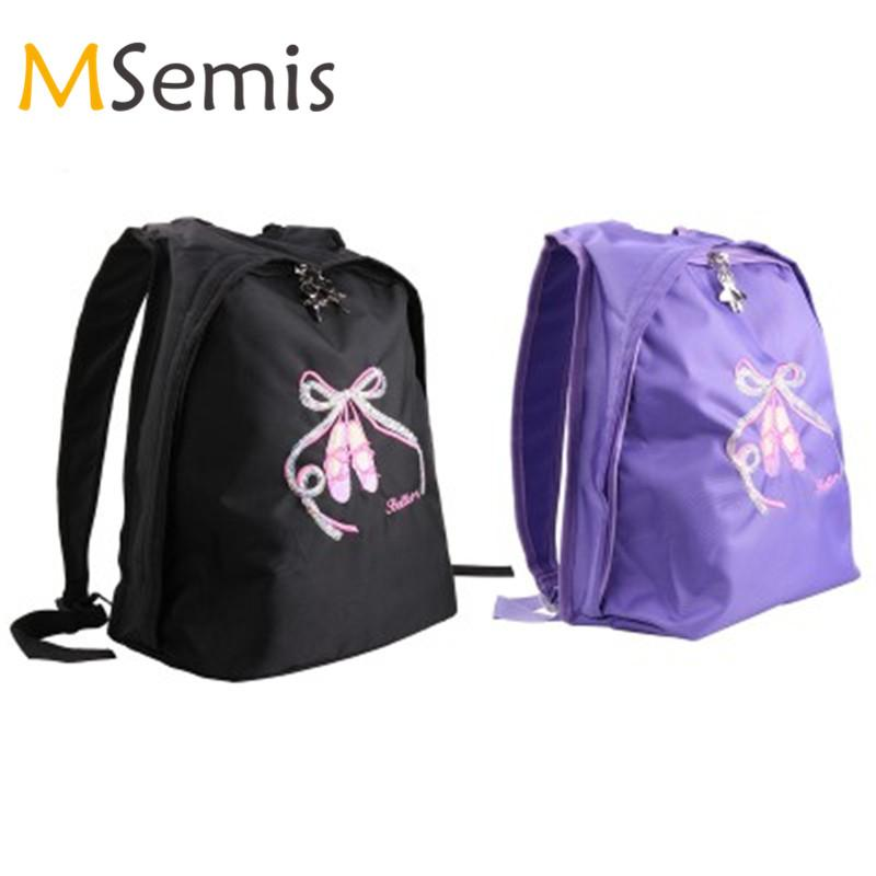 Kids Girls Ballet Dance Bag School Gym Backpack Toe Shoes Embroidered Shoulder Bag for Children Kids Dancing Ballet Tutu Sports