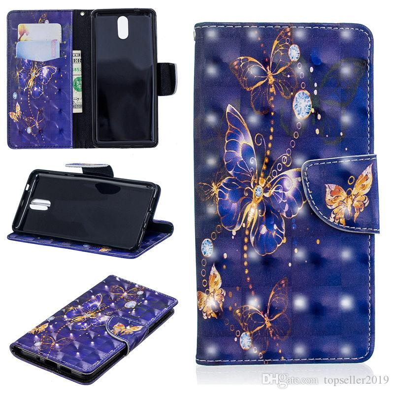 For NoKia 3.1 2018 3D Cartoon Leather Wallet Case Stand Design Magnetic Clasp Phone Bag Cover 10 Colors B002