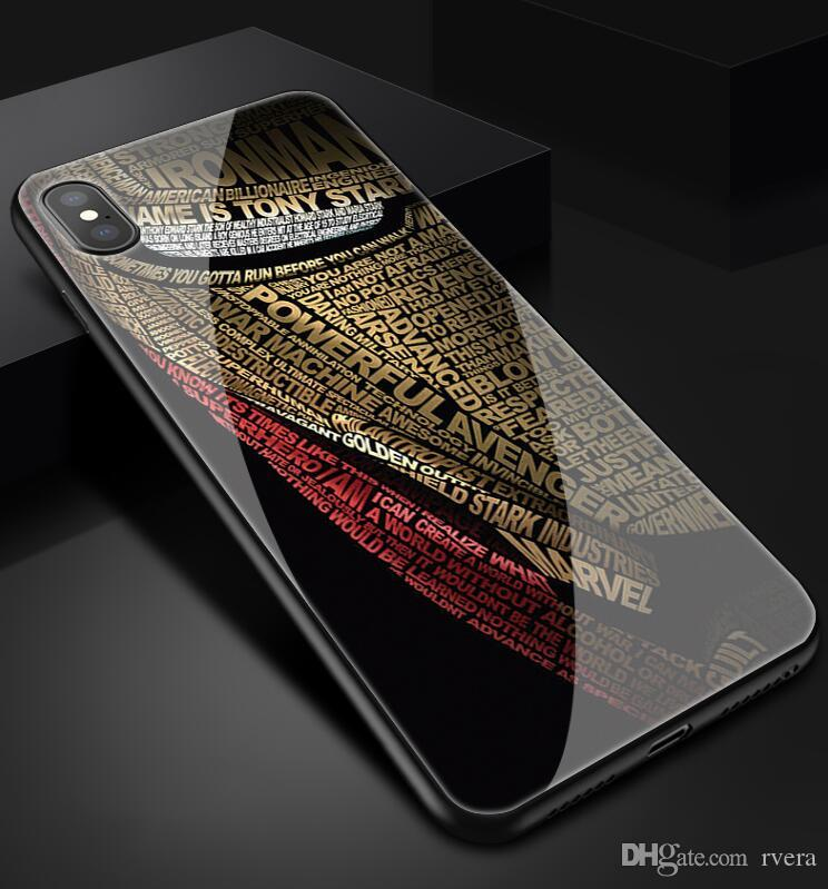 Freies Verschiffen tpu + gehärtetes Glas Iron Man Avengers Telefon-Kasten für iphone 11 pro max xs xr x 7 6 6S 8 Plus Samsung s8 s9 s10 Plus Anmerkung 8 9