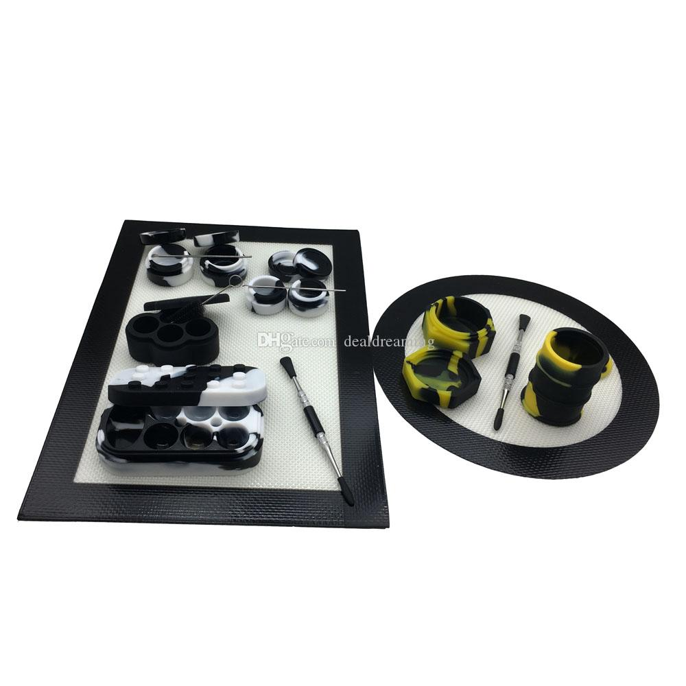 Инструмент силиконовое масло комплект DAB с силиконовые мат Pad 25/26mL 5/7 мл контейнеры 6+1 баночки Титана воск dabber смочив набор