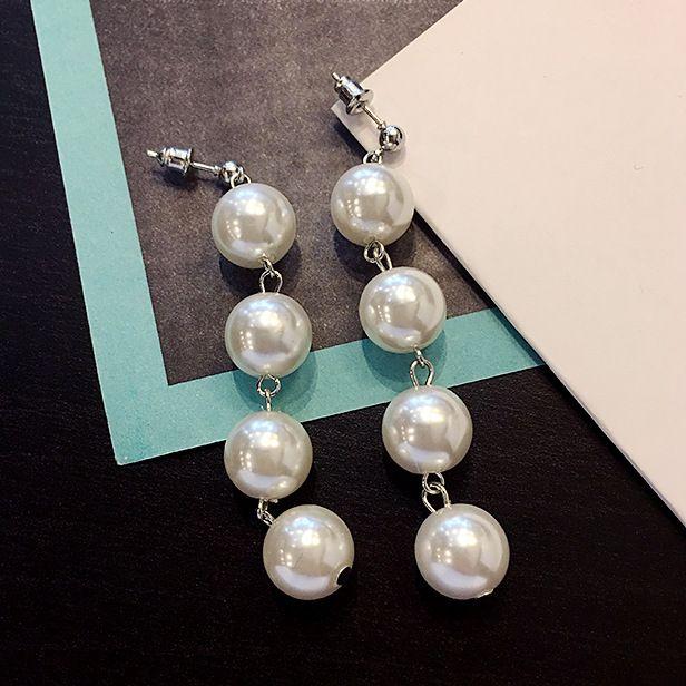 Pendientes de moda de perlas de imitación pendientes largos pernos prisioneros clips 4 perlas de cuentas pendientes de joyería para las mujeres