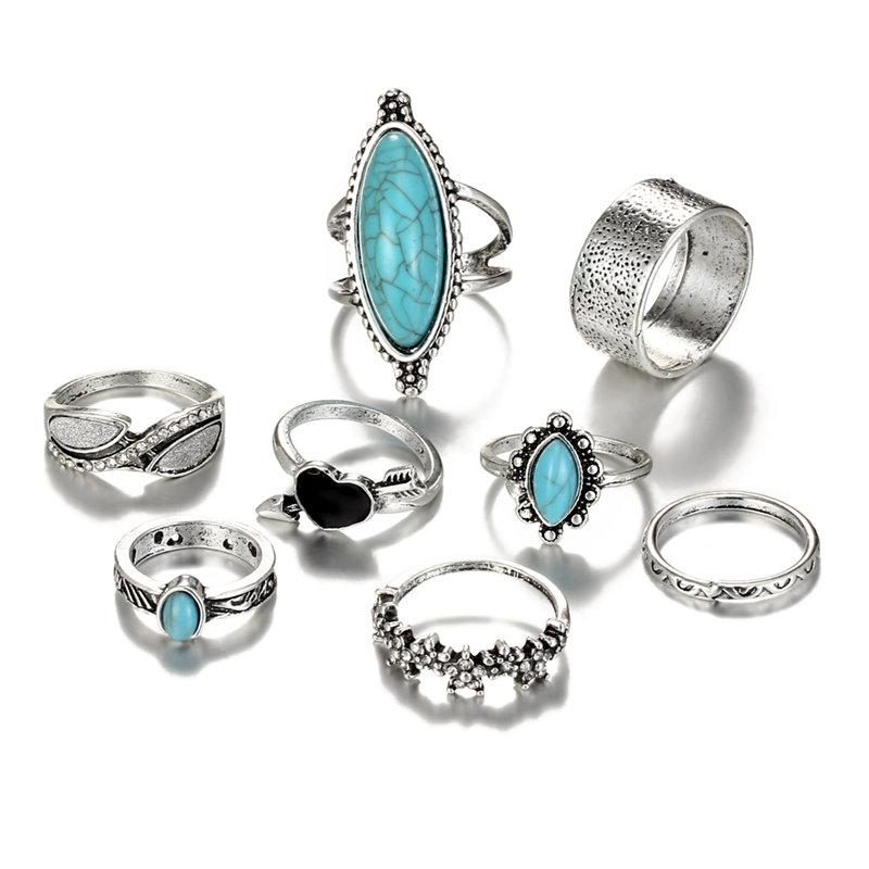 IF-ME-Bohemian-Ring-Sets-for-Women-Vintage-Silver-Color-Arrow-Heart-Big-Blue-Stone-Flower