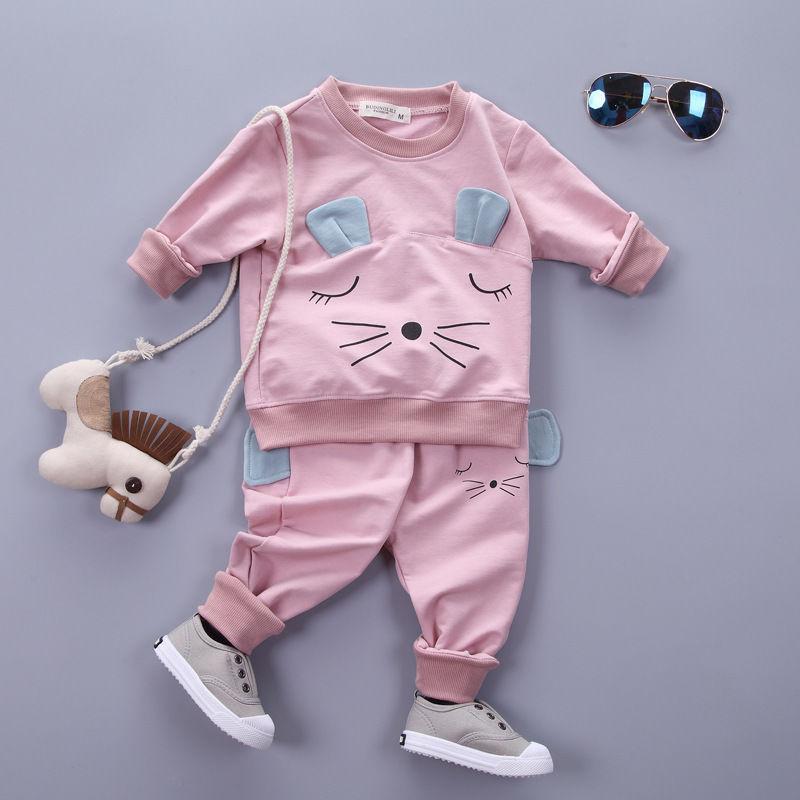 유아 어린이 아기 소녀 옷 고양이 T 셔츠 탑스 바지 2PCS 의상 의류 세트 스포츠 정장 어린이 운동복