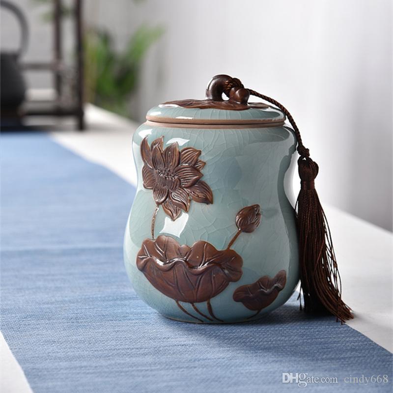 Tea Jar Ceramic Sealed Storage Tank Kiln Celadon Tea Packing Box Canister Ceramic Porcelain Candy Sealed Jar Glass Jars And Lids