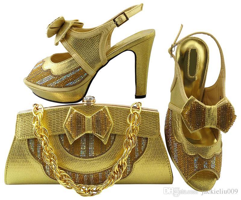 Sapatos de ouro elegante Solsas de correspondência série com bowtie Senhora africana sapatos e bolsa definido para vestido mm1038, calcanhar 11cm