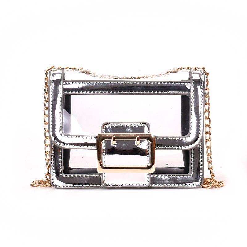New Summer Hot Selling Clear Transparent Shoulder Bag High Quality Crossbody Bags for Women Fashion Chain PVC Handbag Sac A Main