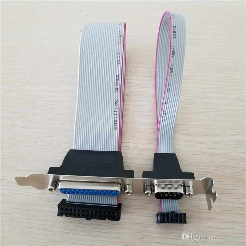 DB25 25Pin Parallel Port Printer LPT & RS-232 RS232 COM DB9 9Pin Serial Port Cable Cord Wire Bracket 30cm