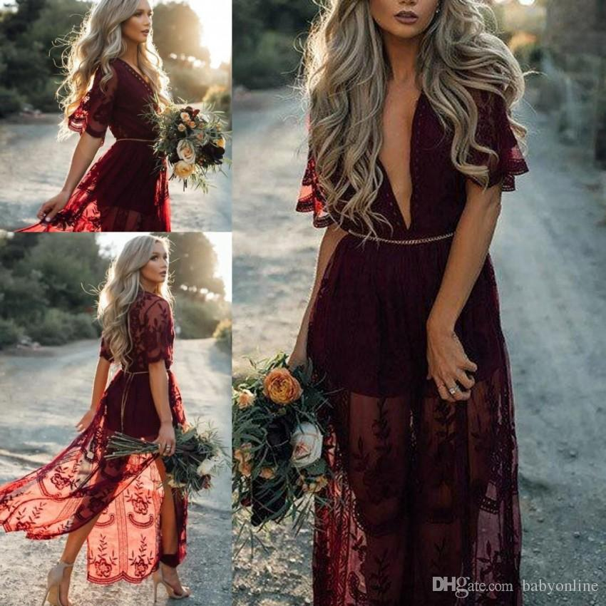 Summer Garden Boho Style Lace Bridesmaid Dresses For Western Weddings A Line Front Split Deep V Neck Short Sleeves Evening Gowns BA9792