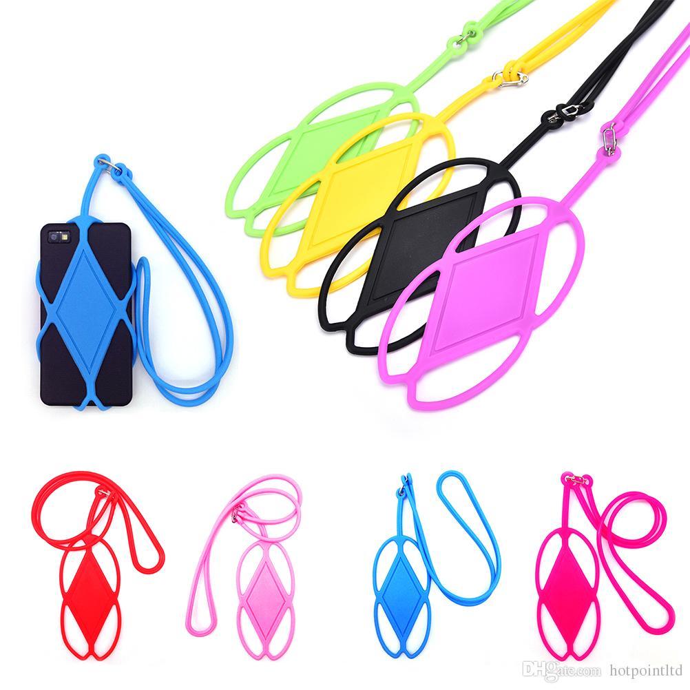 Direkt ab Werk Großhandel Silikon Lanyard Smartphone Kartenhalter Moblie Phone Straps Handy Halsband 50pieces / Lot