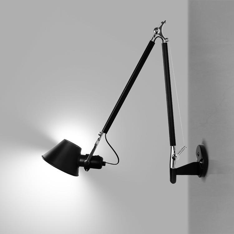 Lámpara de pared LED simple y moderna de Estados Unidos dormitorio estudio junto a la cama sala de estar pasillo brazo largo lámpara de pared