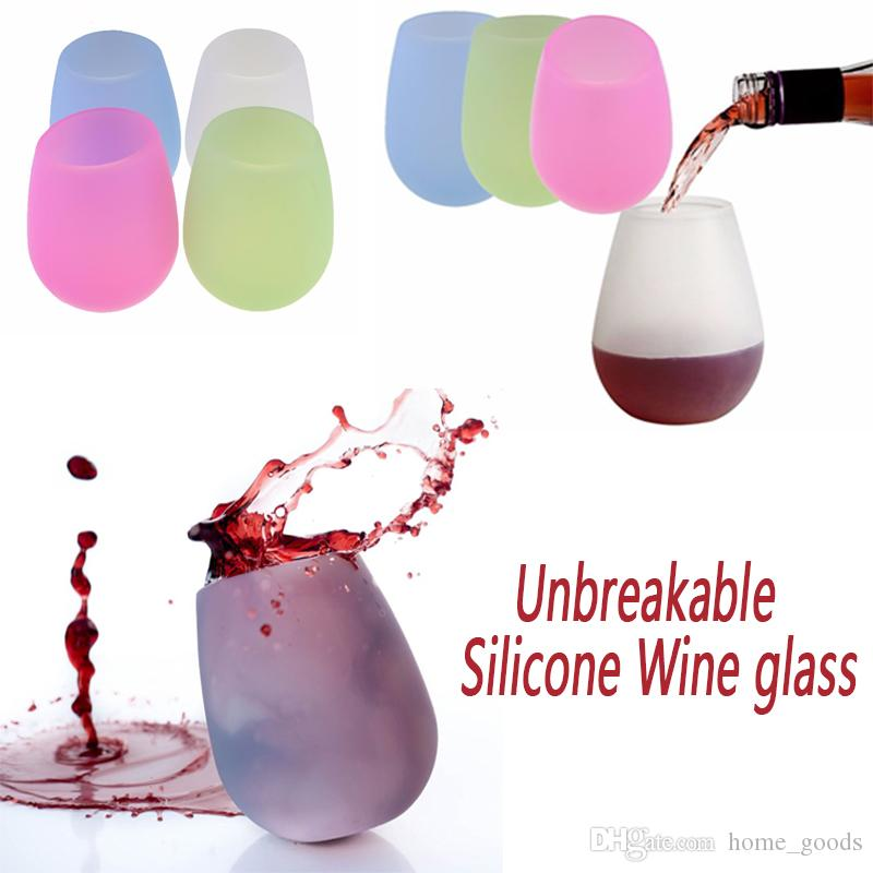 سيليكون كأس النبيذ الزجاج بالجملة الجذعية بهلوان المطاط البيرة القدح اختراقها أكواب لل كوكتيل شواء التخييم قابلة الشرب نظارات