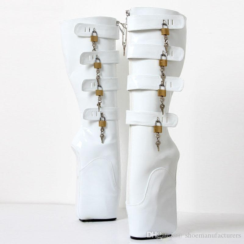 Free DHL New BDSM Man Ballet Boots 18cm Super High Heel Wedges Pony Hoof Sexy Fetish Slave 8keys Lockable Knee Boots for Exotic
