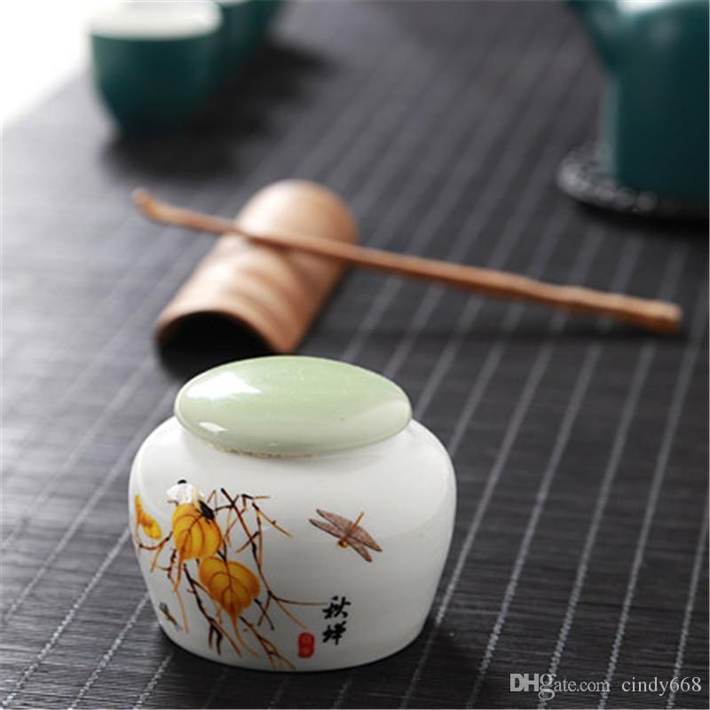 Thé Canister thé en céramique Boîte à thé Boîte en porcelaine Poterie Céramique Portable réservoir étanche Porcelaine Caddy Pot de cuisine Pot