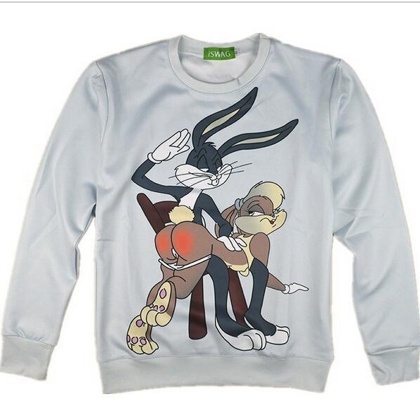 gran selección de a5e20 b3e52 Compre Nuevos Parejas Hombres Mujeres Unisex Cuello Redondo Bugs Bunny  Looney Tunes Sudadera Con Capucha Funny 3D Print Sudadera Con Cuello Alto  ...