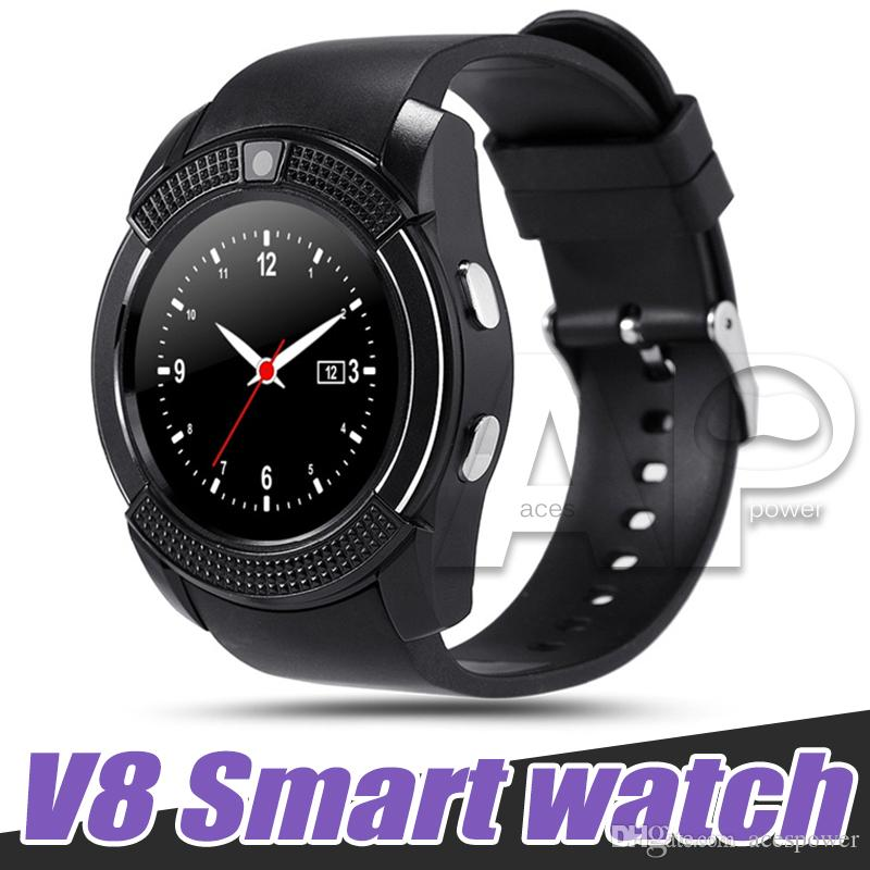 V8 Smart Watch Sport SmartWatch With 0.3M Camera SIM IPS HD Full Circle Display For Android System