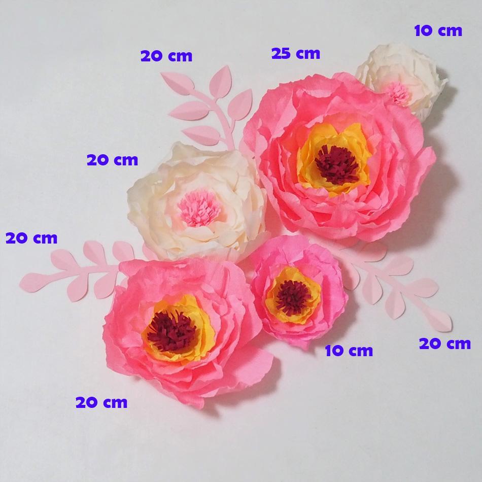 Dev Krep Kağıt Çiçekler Yapay Flores Artificiale Düğün Olay Için 5 ADET Zemin Bebek Kreş Duş Sahte Çiçekler