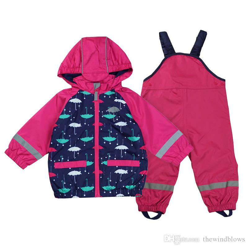 2018 Kids Waterproof Windproof Reflective Article Baby Girl Jacket Overalls Suit Children Raincoat Warm Fleece Clothes