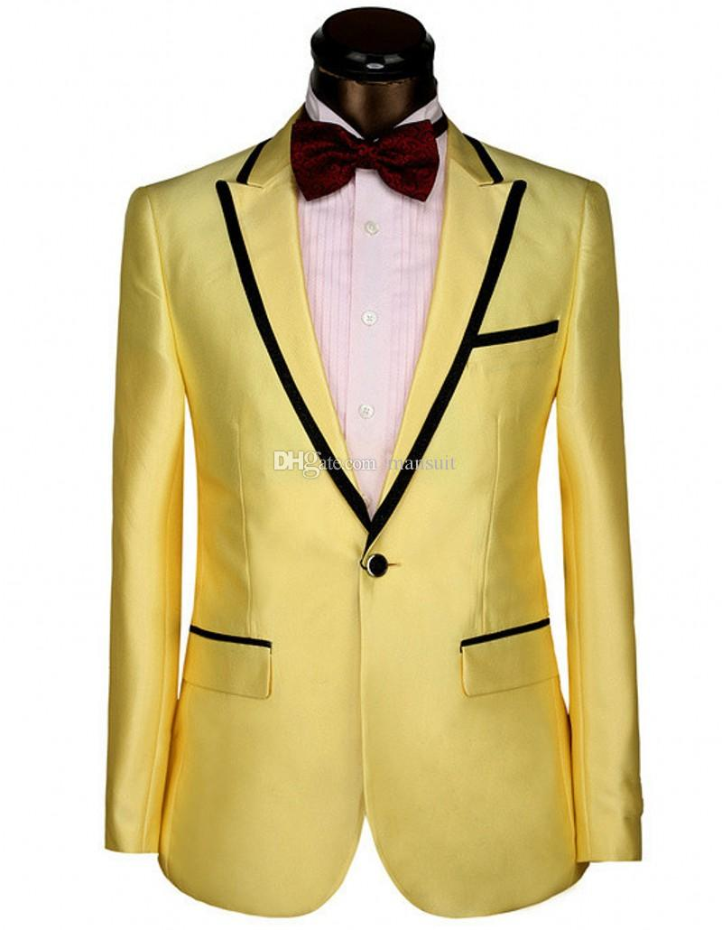 Groomsmen Peak Tuxedos Or Hommes Costumes Mariage Mariage / Prom Le Meilleur Blazer / Epoux (Veste + Pantalon + Noeud Papillon) M366