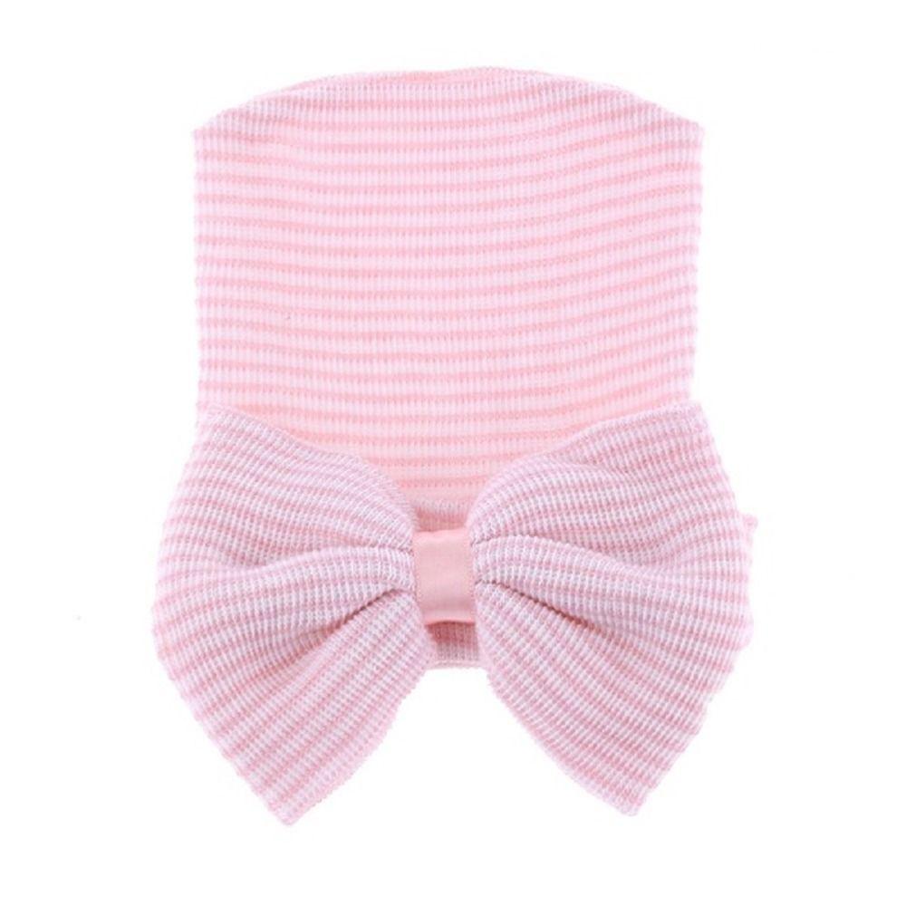 SIRENXI Cute Striped Newborn Bow Hat Baby Girl Fashion Hats & Caps Beanie Toddler Bow Accessories headwear Photography