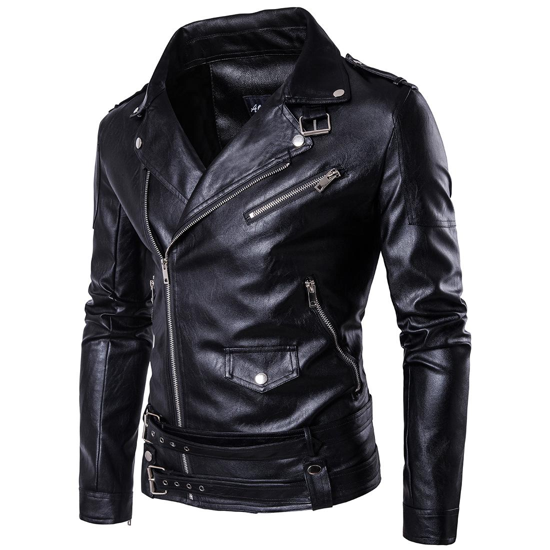 Wholesale- MarKyi fashion mens faux fur coats slim fit long sleeve motorcycle leather jacket for men Eu size 5xl imported jackets