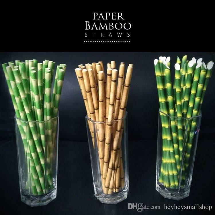 Bebida biodegradável Papel de palha de bambu verde palha de papel de palha Eco-friendly 25 pcs muito sobre Promoção