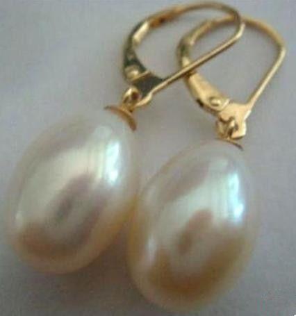 13-15mm Weiß Südsee natürliche Perle Ohrringe 14k Gold Zubehör