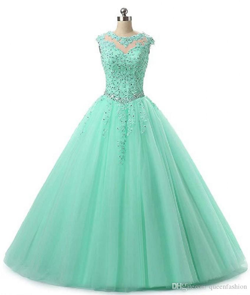 Sweet 16 Quinceanera Pageant Dresses Lace Applique Tulle Ball Gown Prom Dresses Long Vestidos 15 anos Keyhole Back Debutante Masquerade Gown