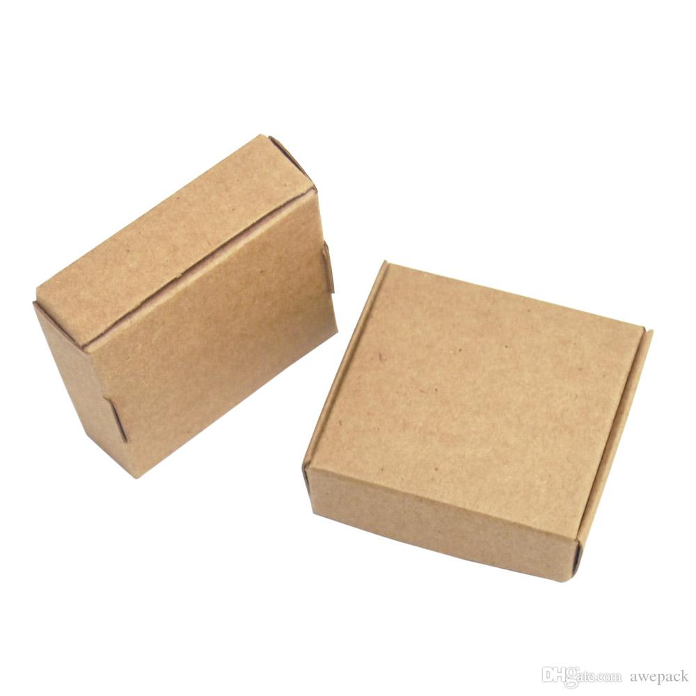 50 Pieces 5.5*5.5*1.5cm Brown Cardboard Gift Storage Box Foldable Small Jewelry Card Package Kraft Paperboard Boxes