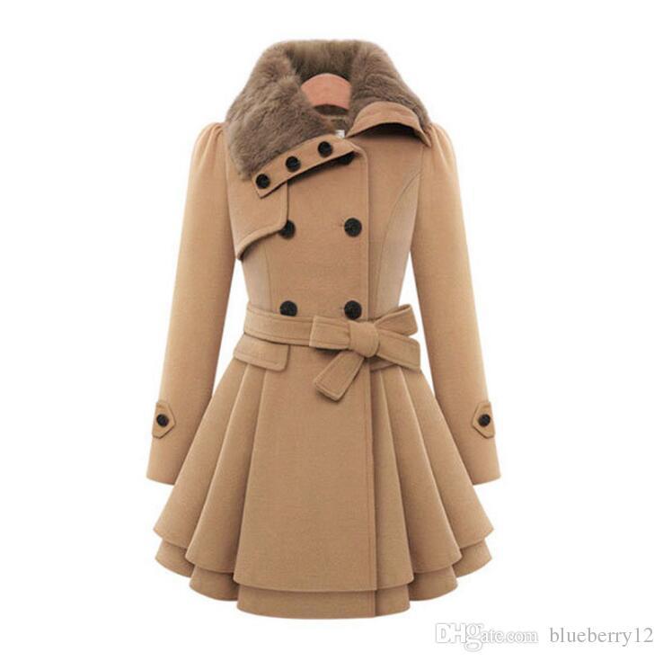 4 donne di colori invernali cappotti pelliccia falsa risvolto collo donna lana come cappotti slim fit Outerwears S - 4XL