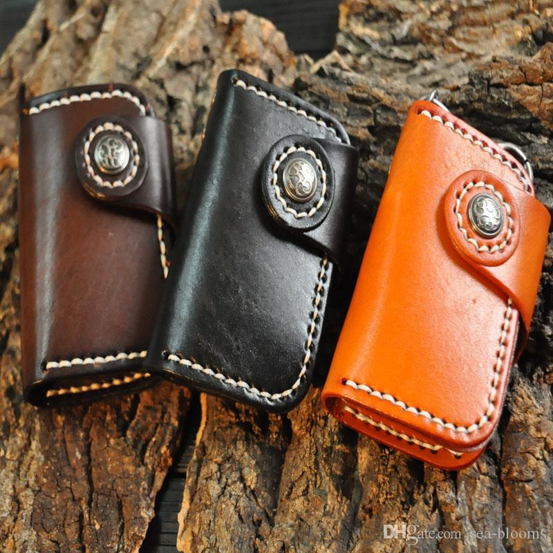 Fashion Handmade Portable Genuine Cowhide Leather Car Keychain Key Bag Cards Pouch Bag Multifunction Wallet Support FBA Drop Shipping H22F
